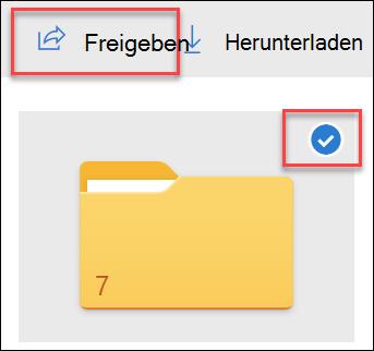 """Abbildung eines Ordners in OneDrive und der Option """"freigeben""""."""