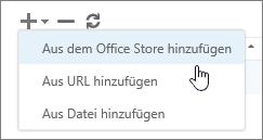 """Screenshot der Optionen, die auf der Symbolleiste """"Add-Ins verwalten"""" verfügbar sind. Dazu gehören """"Hinzufügen"""", """"Löschen"""" und """"Aktualisieren"""". Die Auswahlmöglichkeiten in """"Hinzufügen"""" werden angezeigt. Dazu gehören """"Aus dem Office Store hinzufügen"""", """"Aus einer URL hinzufügen"""" und """"Aus einer Datei hinzufügen""""."""