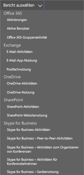 Auswählen verfügbarer Berichte in Office365