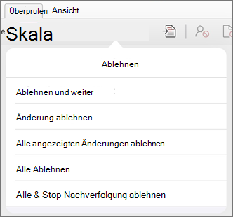 """Menü """"Änderungen ablehnen"""""""