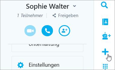 """Ein Screenshot die neue Schaltfläche """"Chat"""""""