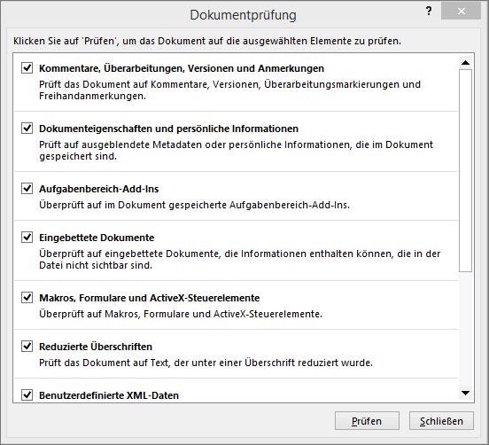 """Gezeigt werden die Optionen im Dialogfeld """"Dokumentprüfung""""."""