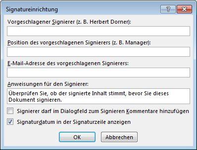 Dialogfeld 'Signatureinrichtung'