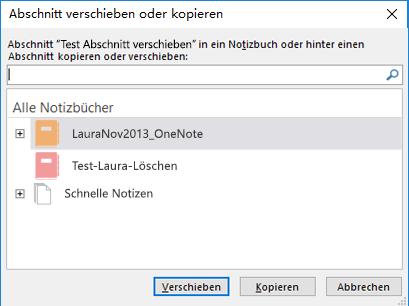 """OneNote für Windows 2016: Dialogfeld """"Abschnitt verschieben oder kopieren"""""""