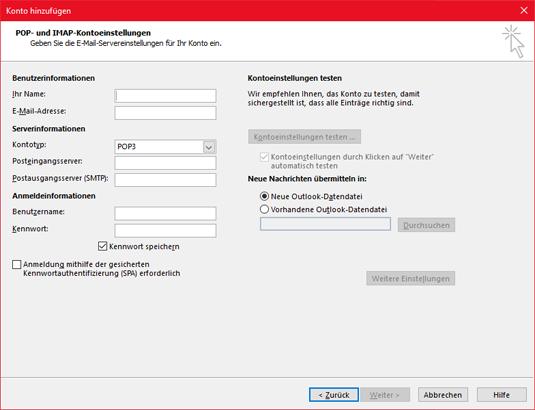 Eingeben der POP- oder IMAP-Serverinformationen