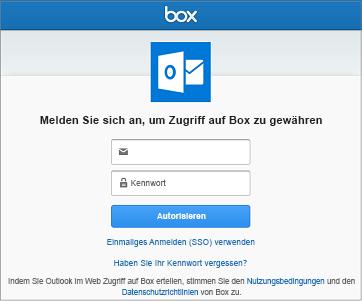 Beim Herstellen einer Verbindung mit einem Speicherkonto müssen Sie Ihren Benutzernamen und das Kennwort angeben, damit Outlook auf Ihre Dateien zugreifen kann.