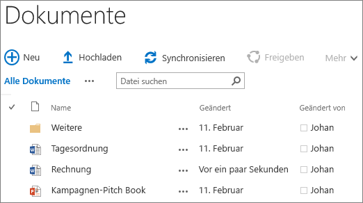 Screenshot einer Dokumentbibliothek in SharePoint Server 2016