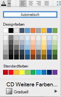 Word für Mac-Auswahlmenü ' Schriftfarbe '