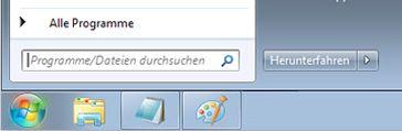 Startmenü von Windows7 mit Suchfeld