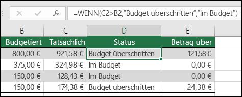 """Die Formel in Zelle D2 lautet =WENN(C2>B2;""""Über Budget"""";""""In Budget"""")"""