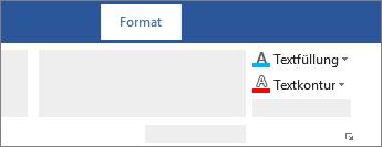 """Die Optionen """"Textfüllung"""" und """"Textkontur"""" auf dem Lineal"""