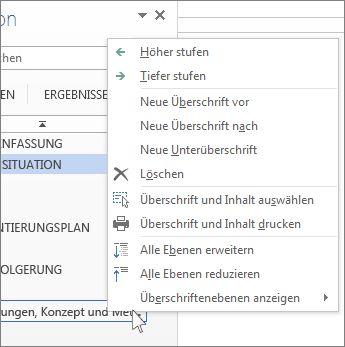 Kontextmenüoptionen für Überschriften im Navigationsbereich