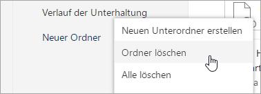 """Screenshot der Menüoption """"Ordner löschen"""""""