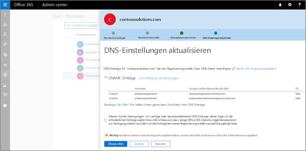 Fügen Sie die DNS-Einträge bei Ihrem DNS-Host aufgeführt hinzu.