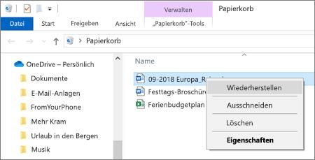 Kontextmenü zum Wiederherstellen einer gelöschten Datei aus dem Papierkorb