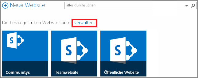Beispiel der Seite 'Websites' mit hervorgehobenem Link 'Verwalten'