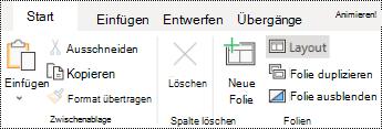 Schaltfläche ' Layout ' auf der Registerkarte ' Start ' in PowerPoint Online.