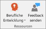 """Gruppe """"Ressourcen"""" der Registerkarte """"Kursnotizbuch""""."""