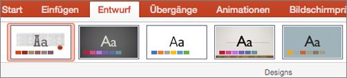 """Klicken Sie auf """"Entwurf"""" und dann auf """"Designs""""."""