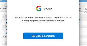 Dialogfeld von Google, in dem der Benutzer zum Anmelden aufgefordert wird