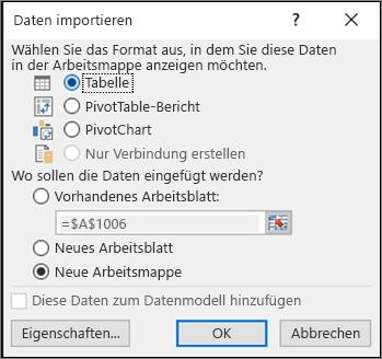 """Dialogfeld """"Daten importieren"""" in Excel 2016"""
