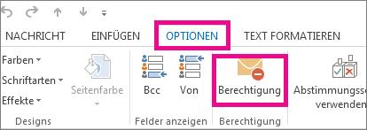 Option 'Berechtigung' auf der Registerkarte 'Optionen'