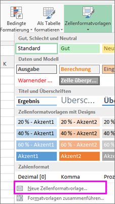 Option 'Neue Zellenformatvorlage'
