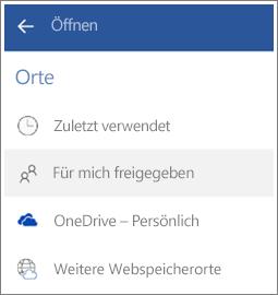 Screenshot, der zeigt, wie Dateien angezeigt werden, die andere mit Ihnen in Android geteilt haben