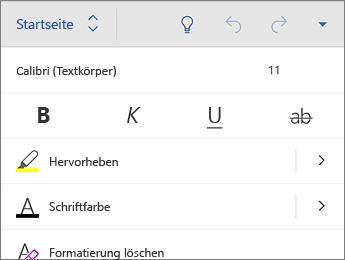 """Registerkarte """"Start"""" mit den Formatierungsoptionen für """"Schriftart"""""""