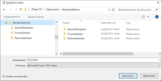 """Speichern Sie die Datei """"contacts.csv"""" an einem Speicherort auf Ihrem Computer."""