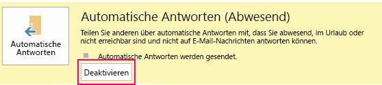 Screenshot des Outlook-Dialogfelds zum Deaktivieren automatischer Nachrichten