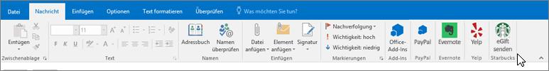 """Ein Screenshot des Outlook-Menübands mit dem Fokus auf der Registerkarte """"Nachricht"""", wobei der Cursor auf die Add-Ins ganz links zeigt. In diesem Beispiel sind die Add-Ins Office-Add-Ins, PayPal, Evernote, Yelp und Starbucks."""