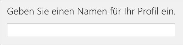 """Screenshot von """"Geben Sie einen Namen für Ihr Profil ein"""" während des Hinzufügens eines Profils in School Data Sync"""