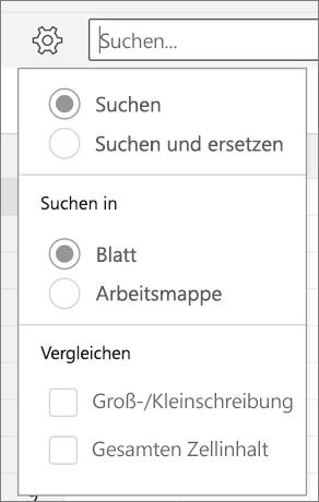"""Zeigt die Optionen """"Suchen"""", """"Suchen und Ersetzen"""", """"Blatt"""", """"Arbeitsmappe"""", """"Groß-/Kleinschreibung beachten"""" und """"Gesamter Zellinhalt"""" für die Suche in Excel für Android."""
