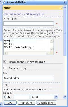 Toolbereich für das Auswahlfilter-Webpart