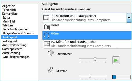 Screenshot der Audioeinrichtung