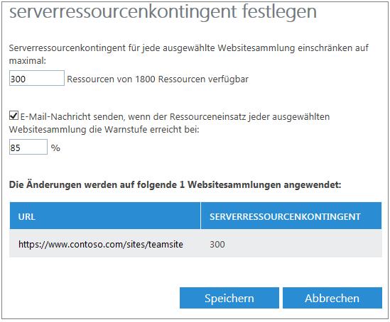 """Dialogfeld """"Serverressourcenkontingent festlegen"""""""