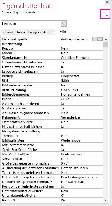 Screenshot eines Access-Eigenschaftenblatts ohne sortierte Eigenschaften