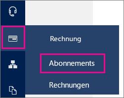 """Linker Navigationsbereich zur Seite """"Abonnements"""" im Office 365 Admin Center"""