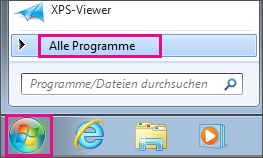 "Suchen nach Office-Apps in Windows 7 über ""Alle Programme"""