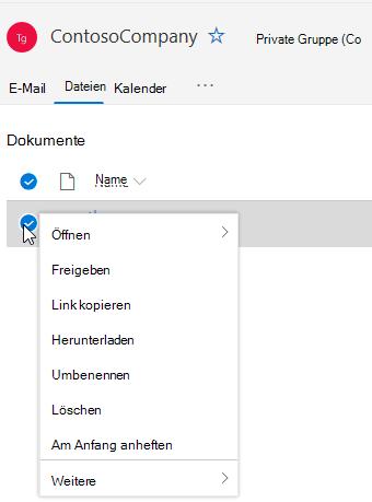 Anzeigen der Optionen zum Löschen und Umbenennen von Dateien