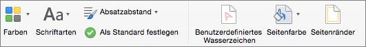 """Optionen zum Anpassen eines Designs auf der Registerkarte """"Entwurf"""""""