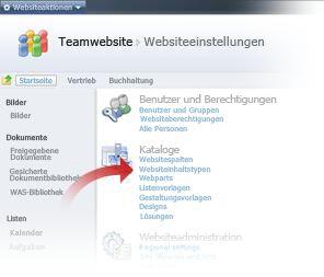 Auswählen von Websiteinhaltstypen im Fenster 'Websiteeinstellungen'