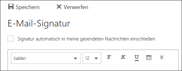 Outlook im Web – Nachricht mit E-Mail-Signatur