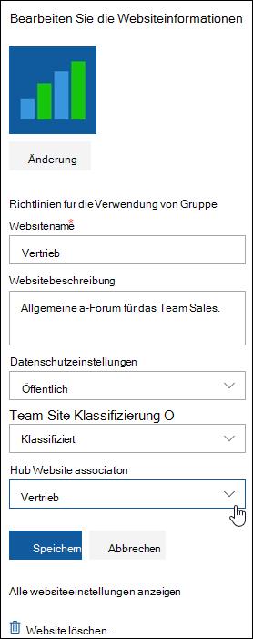 Zuordnen einer SharePoint-Websites zu einer Hubwebsite