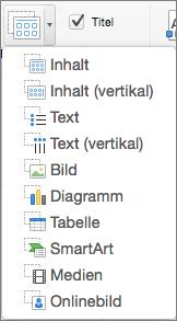 PowerPoint für Mac, Platzhalter einfügen