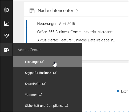 Screenshot des Office 365 Admin Centers mit ausgewähltem Exchange