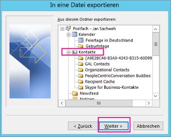 Wählen Sie den Kontaktordner aus, den Sie exportieren möchten.