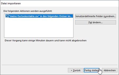 """Wenn Sie Gmail-Kontakte in Ihr Office 365-Postfach importieren, klicken Sie auf die Schaltfläche """"Fertig stellen"""", um die Migration zu starten."""