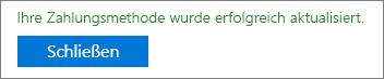 """Screenshot mit der Bestätigung: """"Ihre Zahlungsmethode wurde erfolgreich aktualisiert."""""""